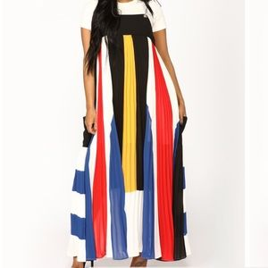 Colorful character striped dress